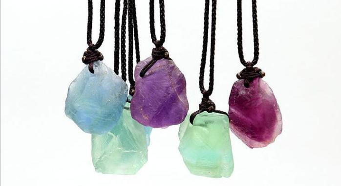 color fluorite stone necklaces