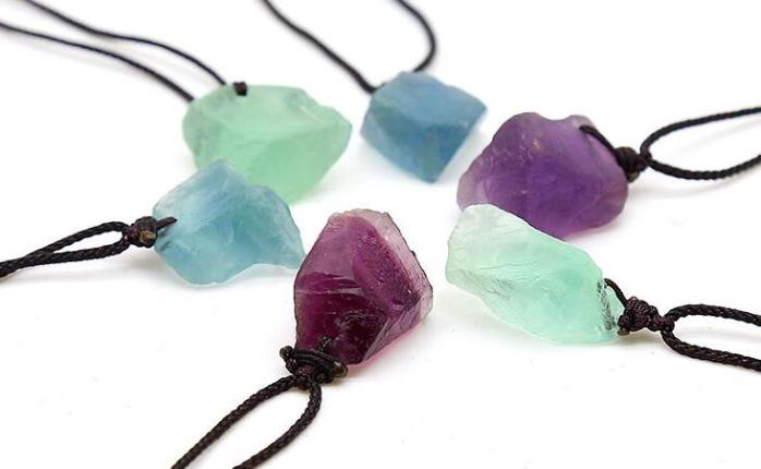 fluorite rough stone necklaces